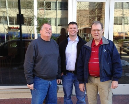 (Left to Right)  Chuck Triplett, Charlie Buettner (Mad Fox Head Brewer), Rayner Johnson.
