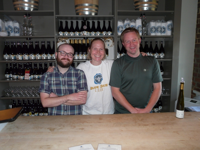 (Manuel Garcia, Courtney Mailey, and Brian Ahnmark in Blue Bee Tasting Room)