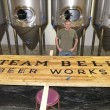 Steam Bell Beer Works Founder Brad Cooper with unfinished sign