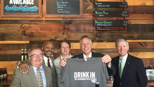 Shenandoah Beerwerks Trail unveiled by (L-R) Billy Kyger (Rockingham County BOS Chair), Maurice Jones (Secretary of Commerce and Trade), Adam Shifflett (Brothers Craft Brewery), Governor Terry McAuliffe and Delegate Steve Landes