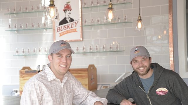 (Will Correll and Alec Steinmetz at Buskey Cider's tasting room)